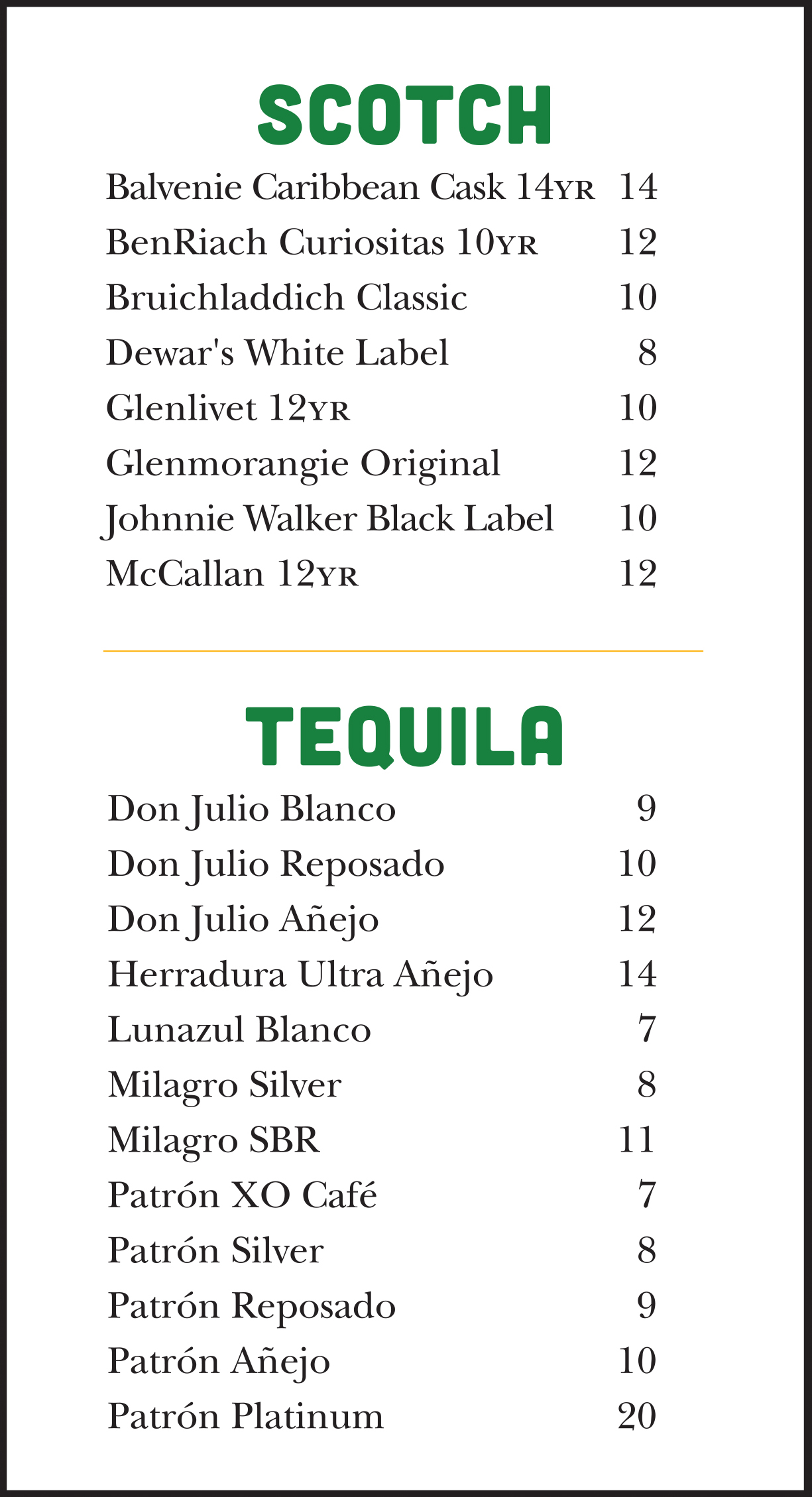 Ja Grill Drink Menu